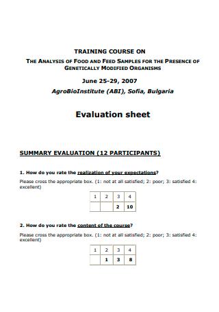 Training Course Evaluation Sheet