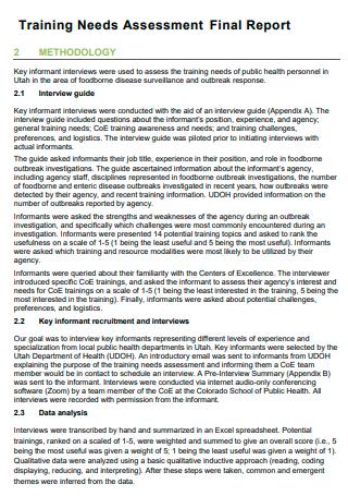 Training Needs Assessment Final Report
