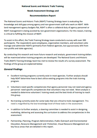 Training Needs Assessment Strategy and Recommendation Report