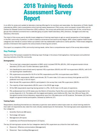 Training Needs Assessment Survey Report