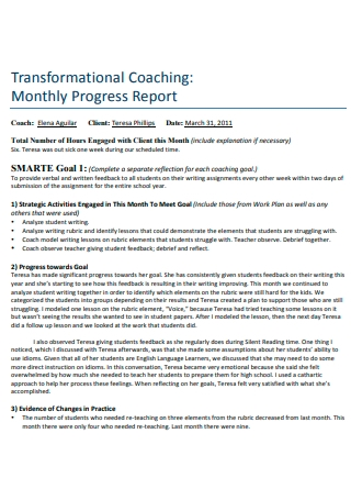 Transformational Coaching Monthly Progress Report