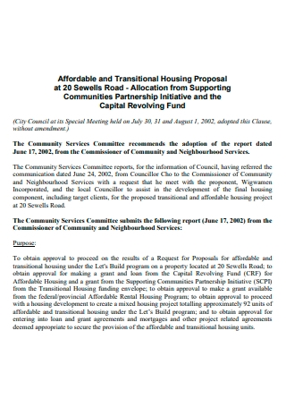 Transitional Housing Project Proposal