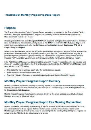 Transmission Monthly Project Progress Report