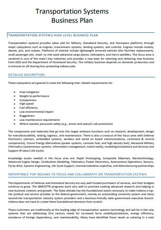 Transportation Business Plan in PDF