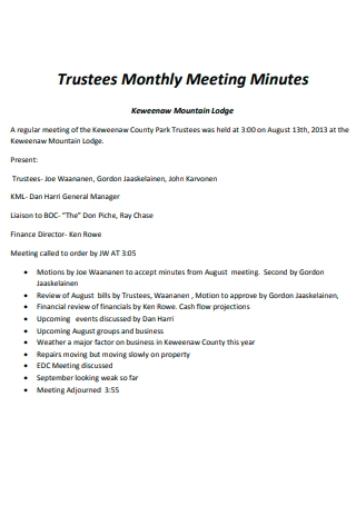 Trustees Monthly Meeting Minutes