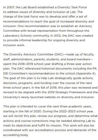 University Diversity Action Plan