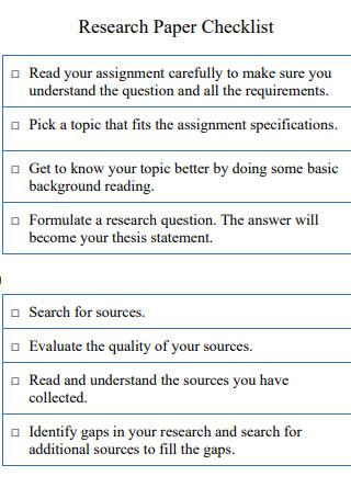 University Research Paper Checklist