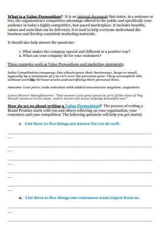Value Propositions Worksheet Example
