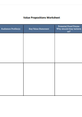 Value Propositions Worksheet Format