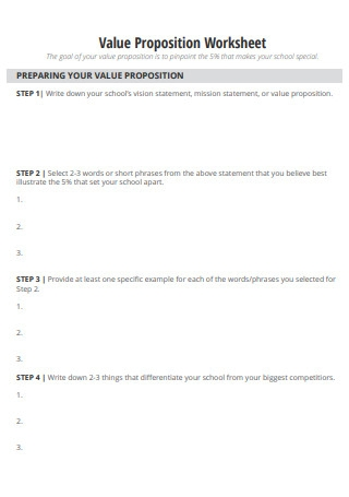 Value Propositions Worksheet for School