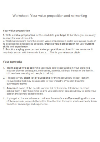 Value Propositions and Networking Worksheet