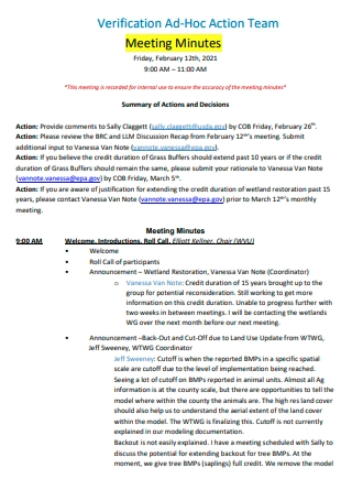Verification Action Team Meeting Minutes