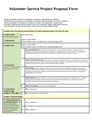 Volunteer Service Project Proposal Form