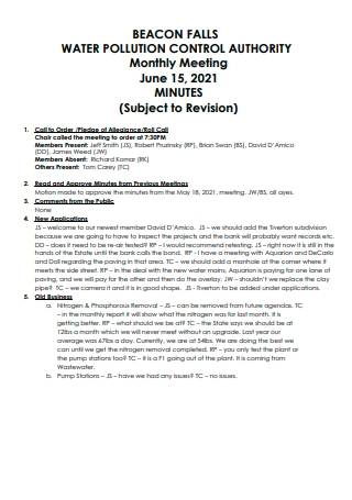 Water Pollution Control Authority Monthly Meeting Minutes