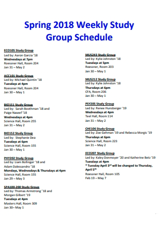 Weekly Study Group Schedule