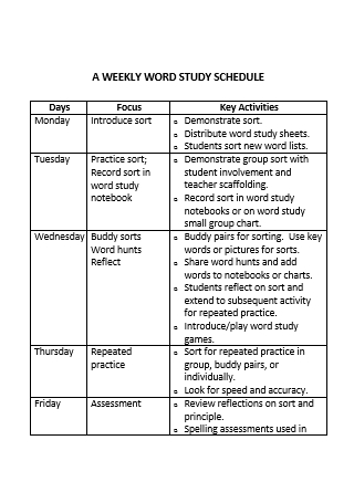 Weekly Study Schedule in DOC
