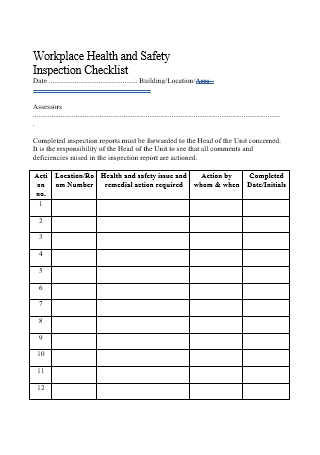 Workplace Health and Safety Inspection Checklist Template