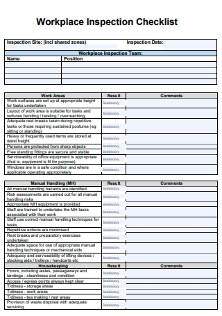 Workplace Inspection Checklist in PDF