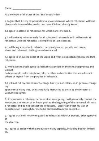 Actor or Actress Contract for Film Production Contract
