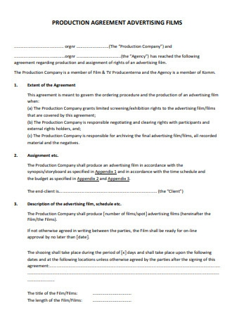 Advertising Films Production Contract