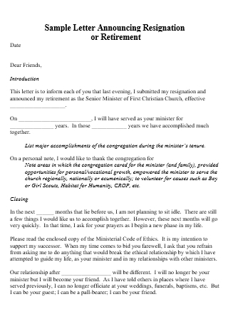 Announcing Resignation Letter