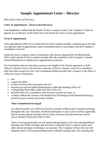 Annual Meeting Appointment Letter