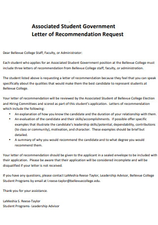 Associated Student Government Letter of Recommendation Request