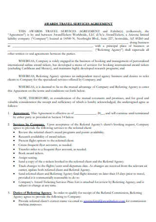Awards Travel Services Agreement