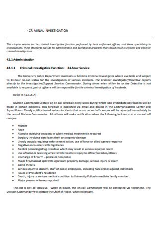 Basic Criminal Investigation Report