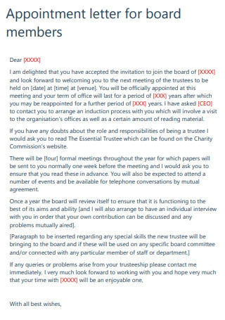 Board Members Meeting Appointment Letter