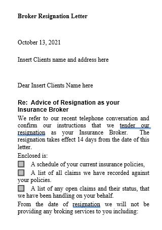 Broker Resignation Letter