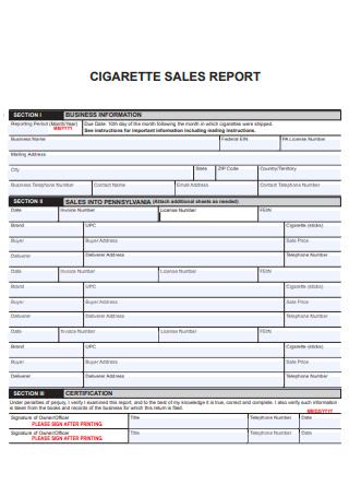 Cigratte Sales Business Report