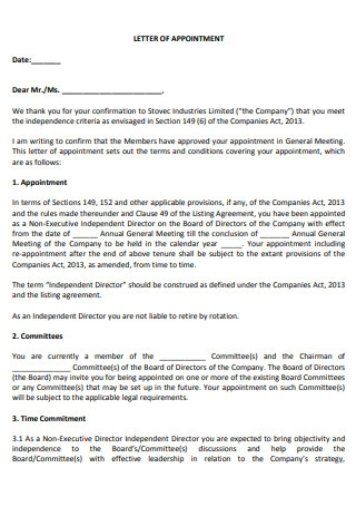 Company Meeting Appointment Letter