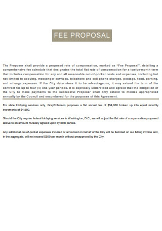 Consultant Fee Proposal
