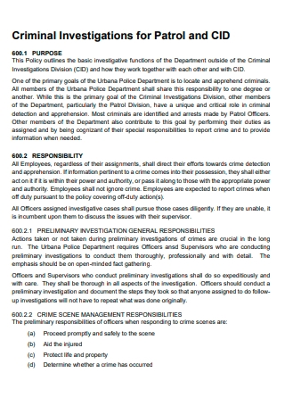 Criminal Investigation Report Example