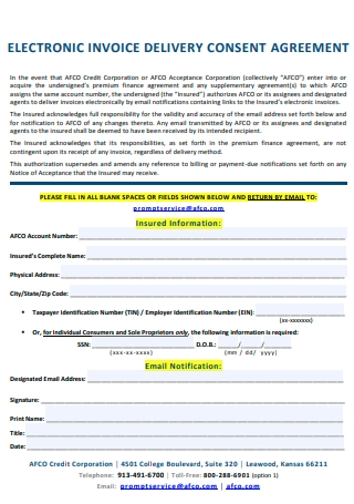 Delivery Consent Agreement Electronic Invoice