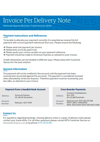 Delivery Note Invoice