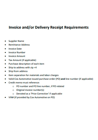 Delivery Receipt Requirements Invoice