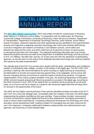 Digital Learning Plan Annual Report