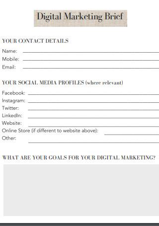 Digital Marketing Brief