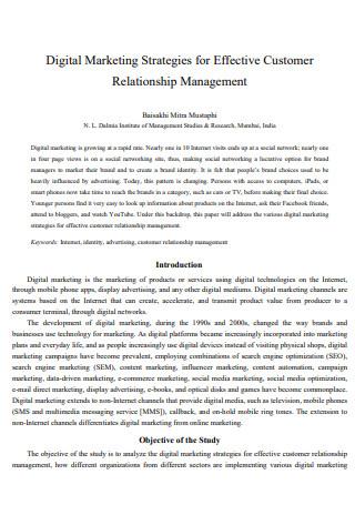 Digital Marketing Strategies fo Customer Relationship Management