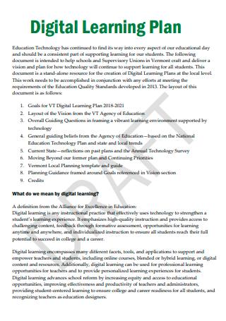 Draft Digital Learning Plan