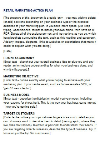 Editable Retail Marketing Plan