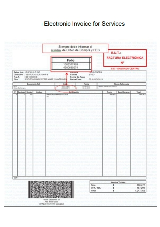 Electronic Invoice For Services