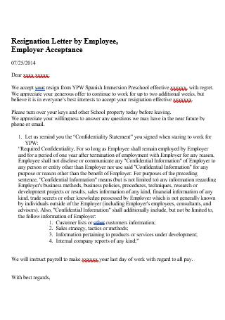 Employer Acceptance Resignation Letter