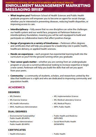 Enrollment Management Marketing Brief