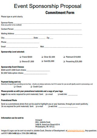Event Sponsorship Proposal Commitment Form