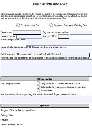 Fee Change Proposal