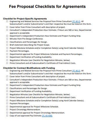 Fee Proposal Checklist