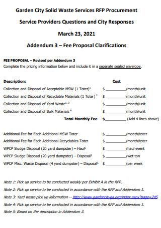 Fee Proposal Clarifications